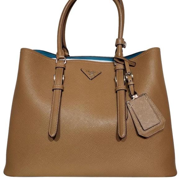 05a389871540 Prada Bags | Double Saffiano Cuir Tan Leather Tote Bag | Poshmark